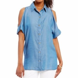 Micheal kors denim style top with cold shoulders.